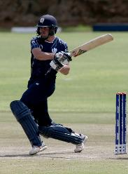 Calum MacLeod of Scotland plays a shot during the ICC Cricket World Cup Qualifier between Afghanistan and Scotland at the BAC Stadium on March 4, 2018 in Bulawayo, Zimbabwe.
