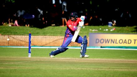 Nepal middle order batsman Arif Sheikh plays a cut shot in the opening match of the Group B, ICC World Cup Qualifier against Zimbabwe at Queens Sports Club in Bulawayo.