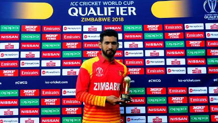 Zimbabwe's top order batsman Sikandar Raza receives the player of the match award for excellent perfomances with both bat and bowl as the hosts win by a 116 runs with bowling figures of 3 wickets for 46 runs, against Nepal in the opening match of Group B.