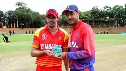 Zimbabwe Cricket captain Greame Cremer and Nepal cricket captain Gyanendra Malla pose for a photo just before the toss of the openining game of the ICC Cricket World Cup Qualifiers at Queens Sports Club Bulawayo in Zimbabwe 04 March 2018.