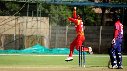 Zimbabwe spin bowler Sikandar Raza in action at Queens Sports Club in Bulawayo as the hosts take on Nepal in the opening match of Group B, ICC World Cup Qualifiers, March 4 2018.