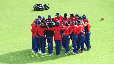 Nepal Cricket Team huddle at Queens Sports Club Zimbabwe 04 March 2018.