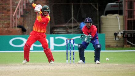 Middle Order Zimbabwe Batsman Craig Ervine plays a backfoot shot through the covers at Queens Sports Club as the hosts post a good total of 380 for Nepal to chase in the opening match of their Group B, ICC World Cup Qualifier.