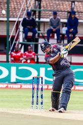 UAE batsman Ashfaq Ahmed in action during a group A World Cup Qualifier match between Papua New Guinea and the United Arab Emirates at Harare Sports Club March 4 2018.