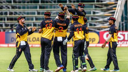PNG players celebrate a wicket during a group A World Cup Qualifier match between Papua New Guinea and the United Arab Emirates at Harare Sports Club March 4 2018.