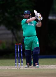 Paul Stirling of Ireland hits out during the ICC Cricket World Cup Qualifier between Ireland and The Netherlands at The Old Hararians Ground on March 4, 2018 in Harare, Zimbabwe.
