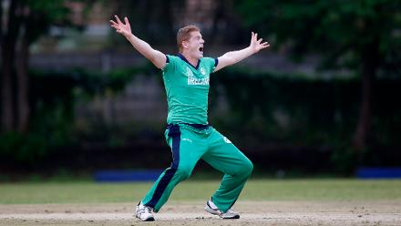 Kevin O' Brien of Ireland sucesfully appeals for the wicket of Ryan ten Doeschate of The Netherlands during the ICC Cricket World Cup Qualifier between Ireland and The Netherlands at The Old Hararians Ground on March 4, 2018 in Harare, Zimbabwe. (©ICC)