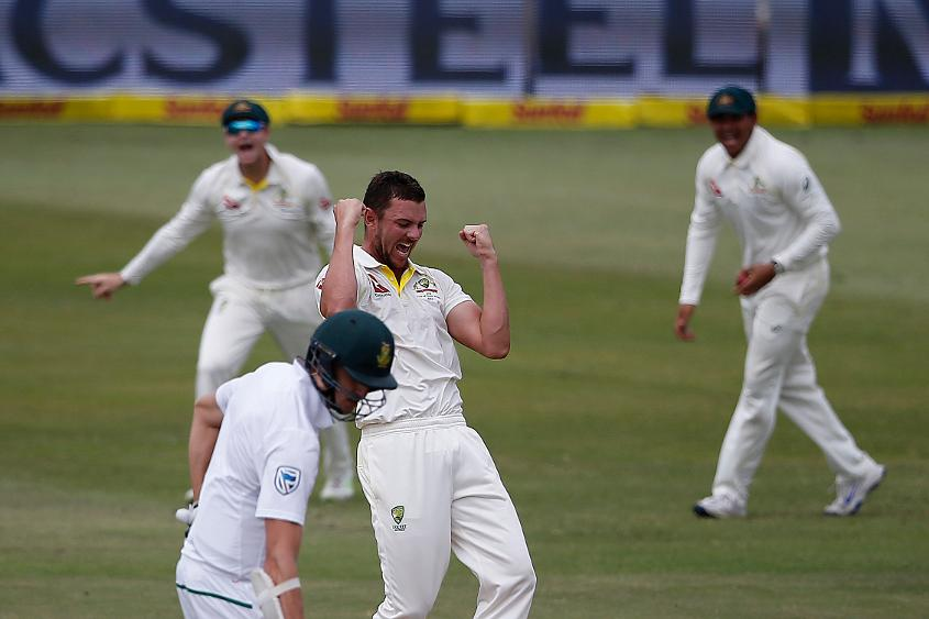 Josh Hazlewood pinned Quinton de Kock lbw to seal the victory