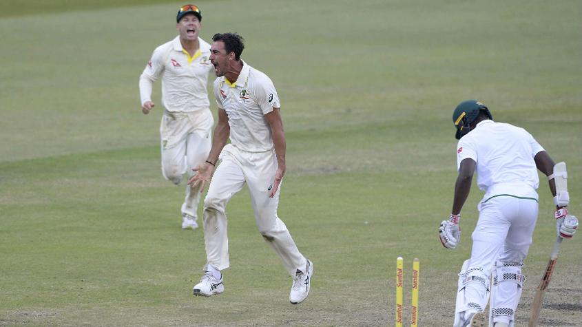Mitchell Starc picked up three wickets in an over towards the end of the day's play