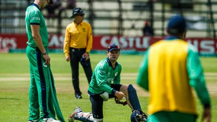 Ireland captain William Porterfield padding up during a Group A World Cup Qualifier cricket match between Papua New Guinea and Ireland at Harare Sports Club, March 6 2018 (©ICC).
