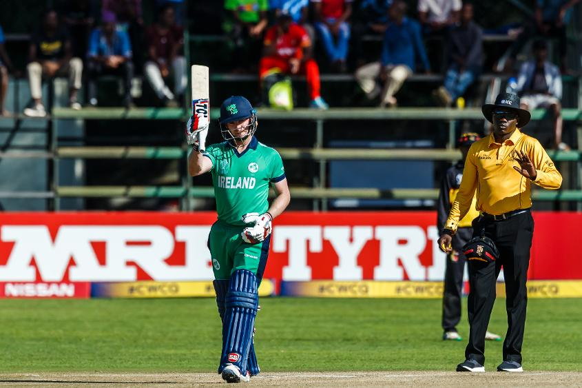 Ireland captain William Porterfield celebrates his century during a Group A World Cup Qualifier cricket match between Papua New Guinea and Ireland at Harare Sports Club, March 6 2018 (©ICC).