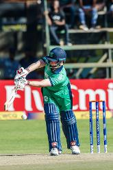 Ireland captain William Porterfield plays the ball during a Group A World Cup Qualifier cricket match between Papua New Guinea and Ireland at Harare Sports Club, March 6 2018 (©ICC).