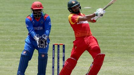 Sikandar Raza of Zimbabwe plays a shot during the ICC Cricket World Cup Qualifier between Zimbabwe and Afghanistan at Queens Sports Club on March 6, 2018 in Bulawayo, Zimbabwe (©ICC).