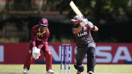UAE batting during The ICC Cricket World Cup Qualifier between The West Indies and The UAE at The Old Hararians Ground on March 6, 2018 in Harare, Zimbabwe (©ICC).