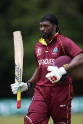 Chris Gayle of The Windies walks off after his dismissal during The ICC Cricket World Cup Qualifier between The West Indies and The UAE at The Old Hararians Ground on March 6, 2018 in Harare, Zimbabwe (©ICC).