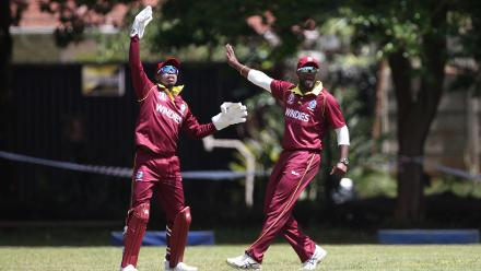 Shimron Hetmyer (L) and Ashley Nurse of The Windies celebrate the wicket of Rohan Mustafa of The UAE during The ICC Cricket World Cup Qualifier between The Windies and The UAE at The Old Hararians Ground on March 6, 2018 in Harare, Zimbabwe (©ICC).