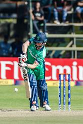 Ireland captain William Porterfield defends during a Group A World Cup Qualifier cricket match between Papua New Guinea and Ireland at Harare Sports Club, March 6 2018 (©ICC).