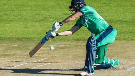 Ireland batsman George Dockrell in action during a Group A World Cup Qualifier cricket match between Papua New Guinea and Ireland at Harare Sports Club, March 6 2018 (©ICC).