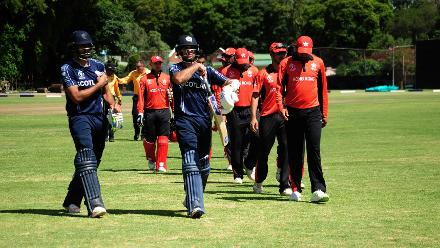 Scotland beat Hong Kong by four wickets in their Group B match of the ICC Cricket World Cup Qualifiers at the Bulawayo Athletic Club, Zimbabwe, 6 March 2018 (©ICC).