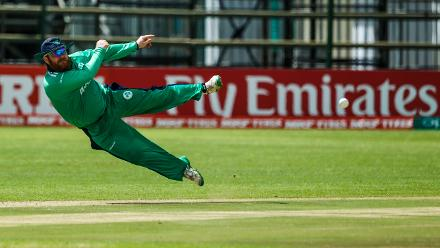 Ireland fielder Paul Stirling in action during a Group A World Cup Qualifier cricket match between Papua New Guinea and Ireland at Harare Sports Club, March 6 2018 (©ICC).
