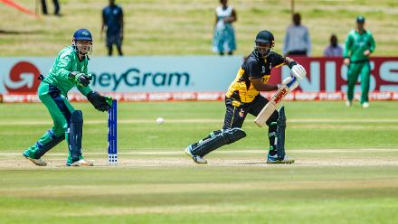 PNG batsman Tony Ura in action during a Group A World Cup Qualifier cricket match between Papua New Guinea and Ireland at Harare Sports Club, March 6 2018 (©ICC).