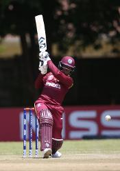 Shimron Hetmyer of The Windies hits out during The ICC Cricket World Cup Qualifier between The Windies and The UAE at The Old Hararians Ground on March 6, 2018 in Harare, Zimbabwe (©ICC).