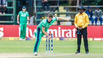 Ireland bowler Tim Murtagh in action during a Group A World Cup Qualifier cricket match between Papua New Guinea and Ireland at Harare Sports Club, March 6 2018 (©ICC).