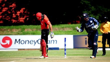 Hong Kong batsman Anshuman Rath is lbw to Tom Sole, Bulawayo Athletic Club, March 6, 2018 (©ICC).