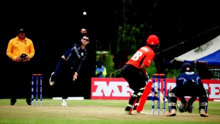 Scotland spin bowler Tom Sole delivers to Hong Kong batsman Ehsan Khan, Scotland v Hong Khan at BAC, March 6 2018 (©ICC).