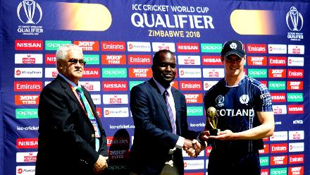 Scotland bowler Tom Sole won the man of the match award after taking 4 for 15 in 10 overs as his team beat Hong Kong by four wickets in Group B of the ICC Cricket World Cup Qualifer at the Bulawayo Athletic Club, Zimbabwe (©ICC).