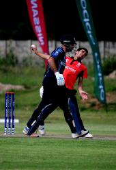 Hong Kong pace bowler Aizaz Khan delivers against Scotland on 6 March 2018 in Bulawayo, Zimbabwe, 6 March 2018 (©ICC).