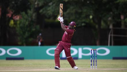 Chris Gayle of The Windies scores during The ICC Cricket World Cup Qualifier between The West Indies and The UAE at The Old Hararians Ground on March 6, 2018 in Harare, Zimbabwe (©ICC) .