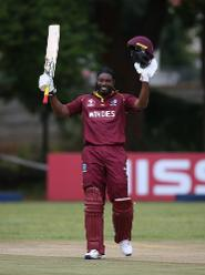 Chris Gayle of The Windies acknowledges his century during The ICC Cricket World Cup Qualifier between The West Indies and The UAE at The Old Hararians Ground on March 6, 2018 in Harare, Zimbabwe (©ICC).