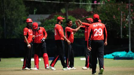 Hong Kong celebrate the wicket of Scotland batsman Craig Wallace in their Group B ICC World Cup Qualifier match at BAC in Bulawayo, Zimbabwe, March 6 2018 (©ICC).