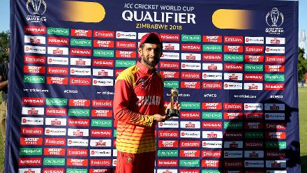 Player of the Match Sikandar Raza of Zimbabwe after the ICC Cricket World Cup Qualifier between Zimbabwe and Afghanistan at Queens Sports Club on March 6, 2018 in Bulawayo, Zimbabwe (©ICC).