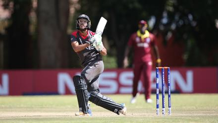 Chirag Suri of The UAE hits out during The ICC Cricket World Cup Qualifier between The Windies and The UAE at The Old Hararians Ground on March 6, 2018 in Harare, Zimbabwe (©ICC).