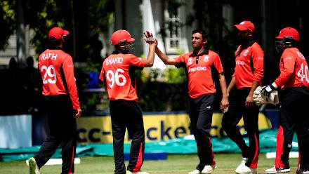 Hong Kong celebrate the fall of a Scotland wicket, Bulawayo Athletic Club, March 6 2018 (©ICC).