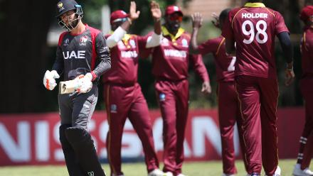 Windies players celebrate the wicket of Rohan Mustafa of The UAE during The ICC Cricket World Cup Qualifier between The Windies and The UAE at The Old Hararians Ground on March 6, 2018 in Harare, Zimbabwe (©ICC).
