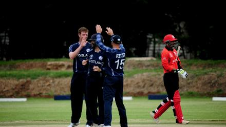 Nadeem Ahmed walks off after losing his wicket to Alasdair Evans, Scotland v Hong Kong, March 6 2018 (©ICC).
