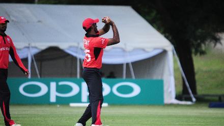 Hong Kong fielder Nizakat Khan catches Scotland batsman Mark Watt off Aizaz Khan's bowling at Bulawayo Athletic Club in Bulawayo, Zimbabwe on 6 March 2018 (©ICC).