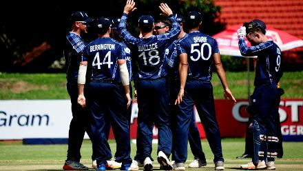 Scotland celebrate wicket of Hong Kong Batsman Anshuman Rath out lbw off the bowling of Sole at BAC (©ICC).