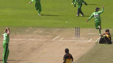 PNG's Vani Morea run out by Ireland's George Dockrell