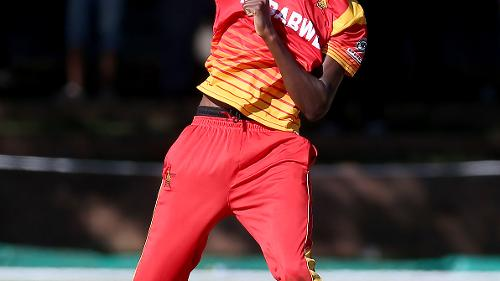 Blessing Muzarabani of Zimbabwe celebrates taking the wicket of Najibulah Zadran of Afghanistan during the ICC Cricket World Cup Qualifier between Zimbabwe and Afghanistan at Queens Sports Club on March 6, 2018 in Bulawayo, Zimbabwe (©ICC).