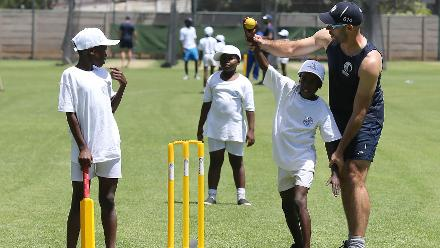 Scotland players take part in the ICC Cricket For Good session.