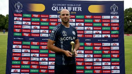 Kyle Coetzer of Scotland with his Player of the Match award the ICC Cricket World Cup Qualifier between Scotland v Nepal at Queens Sports Club on March 8, 2018 in Bulawayo, Zimbabwe (©ICC).