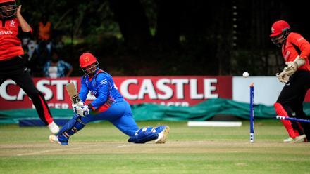 Afghanistan batsman Samiullah Shenwari gets bowled out by Hong Kong spin bowler Ehsan Khan in the Group B, ICC Cricket World Cup Qualifier at BAC in Bulawayo, Mar 8 2018 (©ICC).