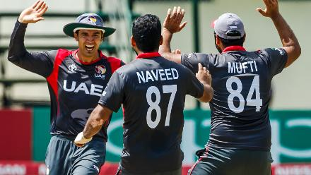 UAE players celebrate a wicket during a Group A World Cup Qualifier cricket match between United Arab Emirates and Netherlands played at Harare Sports Club March 8 2018 (©ICC).