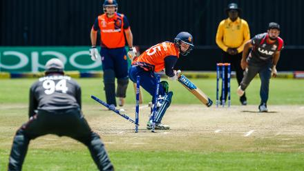 UAE bowler Muhammad Naveed castles the wicket of Scott Edwards in action during a Group A World Cup Qualifier cricket match played between United Arab Emirates and the Netherlands at Harare Sports Club in Harare March 8 2018 (©ICC).