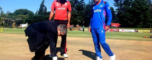 Afghanistan win the toss and send Hong Kong into bat at the Bulawayo Athletic Club in Group B, round three of the ICC Cricket World Cup Qualifiers (©ICC).