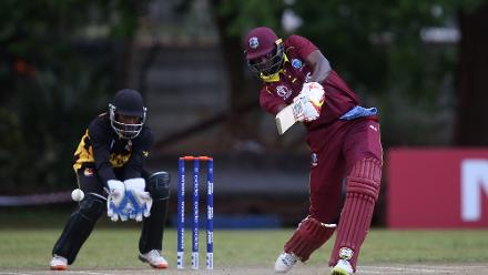 Jack Vare of Papua New Guinea looks on as Jason Holder of The Windies hits out during The Cricket World Cup Qualifier between The Windies and Papua New Guinea at The Old Hararians on March 8, 2018 in Harare, Zimbabwe (©ICC).